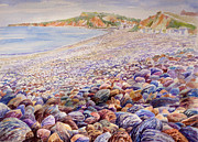 Shoreline Paintings - Budleigh Salterton Beach by Merv Scoble