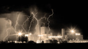 Unusual Lightning Prints - Budweiser Lightning Thunderstorm Moving Out BW Sepia Panorama Print by James Bo Insogna