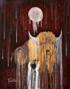 Native Art Paintings - Buffalo Spirit by Patrick Trotter