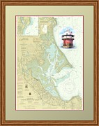 Charts Paintings - Bug Light on a NOAA Chart by P Anthony Visco