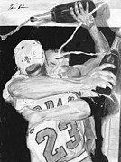 Michael Jordan Drawings - Bulls Celebration by Tamir Barkan