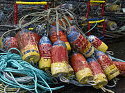 Ropes Photo Prints - Buoys and Crabpots on the Oregon Coast Print by Carol Leigh