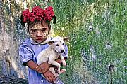 Myanmar Prints - Burmese Girl with Puppy Print by Michele Burgess