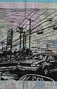 Linocut Metal Prints - Burnet Road Metal Print by William Cauthern