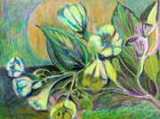 Line Pastels Originals - Buttercups by Mindy Newman