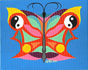 Acrylic On Canvas Board Paintings - Butterfly Twin2 by Angela Marie