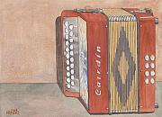 Button Painting Prints - Button Accordion Four Print by Ken Powers