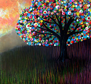 Button Painting Prints - Button tree 0004 Print by Monica Furlow