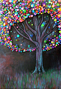 Color Painting Framed Prints - Button tree 0006 Framed Print by Monica Furlow