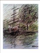 Signed Pastels Originals - By the Lake by Aida Behani