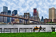 Brooklyn Bridge Prints - By the Water Too Print by Randy Aveille