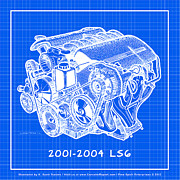 Corvette Engine Blueprints - C5 2001 - 2004 LS6 Z06 Corvette Engine Blueprint by K Scott Teeters