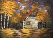 Log Cabins Prints - Cabin in the Woods Print by Ruth Bares
