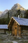 Log Cabins Prints - Cabin In Yoho National Park, Lake Print by Ron Watts