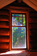 Log Cabin Mixed Media Prints - Cabin Window Print by Bill  Thomson