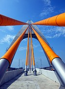 Lanes Prints - Cable Stayed Bridge with Orange Clad Cables Print by Yali Shi