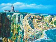 Puerto Rico Painting Originals - Cabo Rojo Lighthouse by Tony Rodriguez