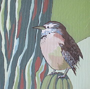 Wren Painting Framed Prints - Cactus Wren Framed Print by Sandy Tracey