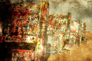 Cadillac Ranch Photos - Cadillac ranch on Route 66 by Susanne Van Hulst