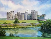 Water Color Artist Prints - Caerphilly Castle Print by Andrew Read