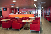 Empty Chairs Prints - Cafe And Bar Area In Tallinn Airport Print by Jaak Nilson