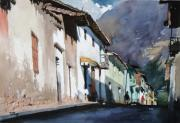 Peru Paintings - Calca Street by Oscar Cuadros