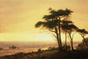 Rocky Shoreline Paintings - California Coast by Albert Bierstadt