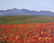 Poppies Field Paintings - California poppies field by Silvia Philippsohn