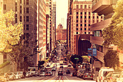 Old Postcards Prints - California Street in San Francisco Print by Wingsdomain Art and Photography