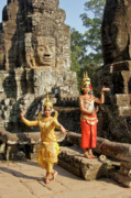 Angkor Thom Prints - Cambodian Dancers at Angkor Thom Print by Michele Burgess