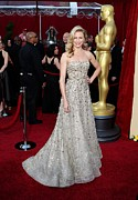 Silver Dress Prints - Cameron Diaz Wearing An Oscar De La Print by Everett