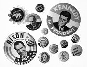 Nixon Framed Prints - Campaign Buttons Framed Print by Granger