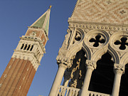Touristes Photo Posters - Campanile. Plazza san Marco. Venice Poster by Bernard Jaubert