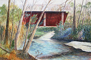 Covered Bridge Painting Metal Prints - Campbells Bridge Metal Print by Ben Kiger