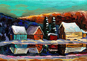 Log Cabins Prints - Canadian Art Laurentian Landscape Quebec Winter Scene Print by Carole Spandau