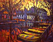 Boats Paintings - Canal by Brian Simons