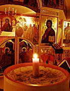 Orthodox Photo Posters - Candle and Icons Poster by Sarah Loft