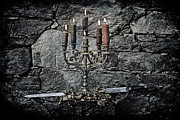 Medieval Posters - Candle Holder And Sword Poster by Joana Kruse