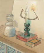 Romantic Drawings Posters - Candle Poster by Kestutis Kasparavicius