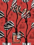 Stripes Mixed Media Acrylic Prints - Candy Stripe Tulips 2 Acrylic Print by Sarah Loft