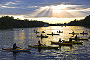 Sunbeams Metal Prints - Canoeing Metal Print by Elena Elisseeva