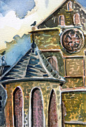 Roof Mixed Media Prints - Cantebury Cathedral Print by Mindy Newman