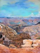 Landscape. Scenic Pastels Framed Prints - Canyon Blues Framed Print by M Diane Bonaparte