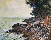 Rocky Coast Framed Prints - Cap Martin Framed Print by Claude Monet