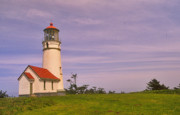 Port Orford Framed Prints - Cape Blanco Lighthouse Framed Print by Nancy Hoyt Belcher