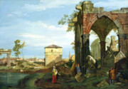 Canaletto Paintings - Capriccio with Motifs from Padua by Canaletto