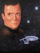 Uss Enterprise Paintings - Captain Kirk by Ethan  Foxx