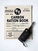 Co2 Framed Prints - Carbon Ration Book For Driving Framed Print by Victor De Schwanberg