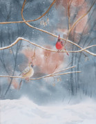 Grey Paintings - Cardinals In Winter by Kathryn Duncan