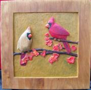 Birds Reliefs Posters - Cardinals on Cherry Wood Poster by Michael Pasko